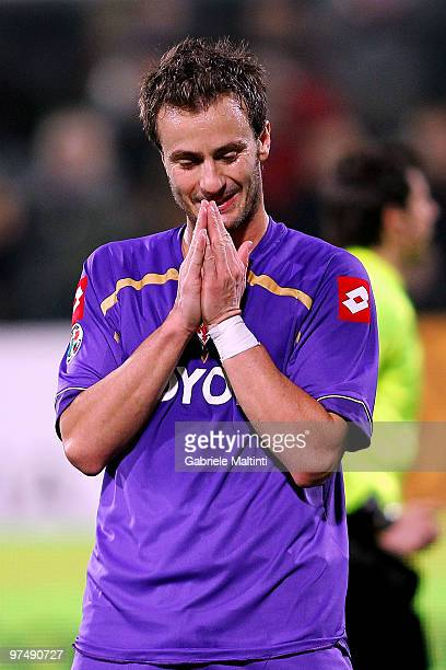 Alberto Gilardino of ACF Fiorentina shows his dejection during the Serie A match between ACF Fiorentina and Juventus FC at Stadio Artemio Franchi on...