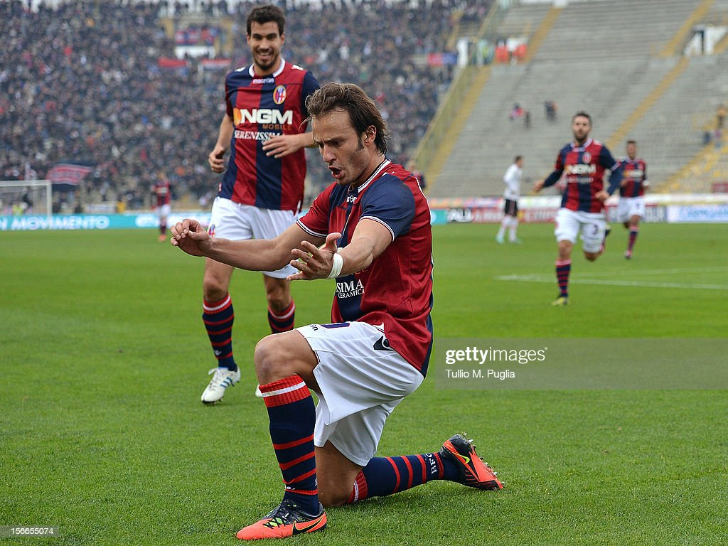 Alberto Gilardino of Bologna celebrates after scoring the opening goal during the Serie A match between Bologna FC and US Citta di Palermo at Stadio Renato Dall'Ara on November 18, 2012 in Bologna, Italy.