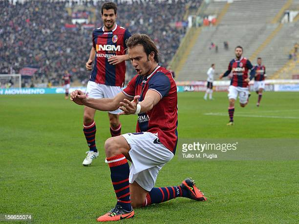 Alberto Gilardino of Bologna celebrates after scoring the opening goal during the Serie A match between Bologna FC and US Citta di Palermo at Stadio...