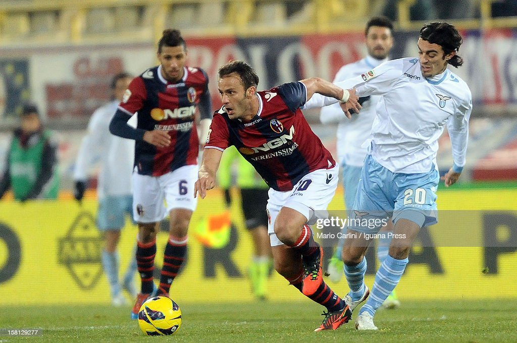 Alberto Gilardino # 10 of Bologna FC in action during the Serie A match between Bologna FC and S.S. Lazio at Stadio Renato Dall'Ara on December 10, 2012 in Bologna, Italy.