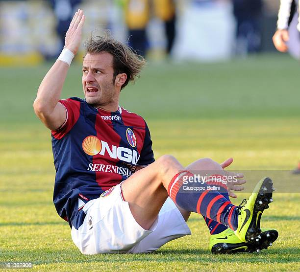 Alberto Gilardino of Bologna reacts during the Serie A match between Bologna FC and AC Siena at Stadio Renato Dall'Ara on February 10 2013 in Bologna...