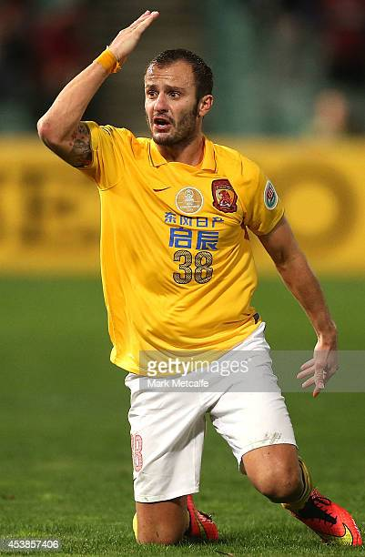 Alberto Gilardino of Evergrande reacts to being fouled during the Asian Champions League Final match between the Western Sydney Wanderers and...