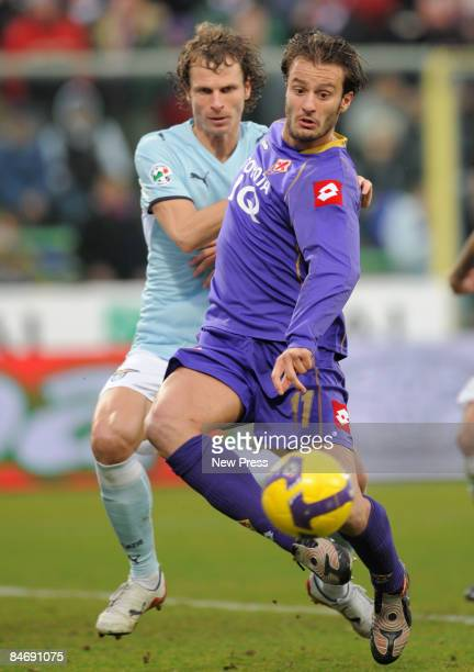 Alberto Gilardino of Fiorentina and David Rozehnal of Lazio during the Serie A match between Fiorentina and Lazio at the Artemio Franchi Stadio on...