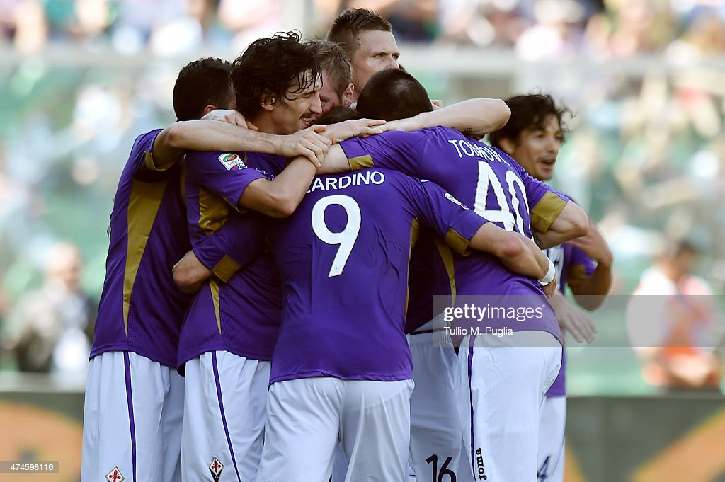 Alberto Gilardino of Fiorentina celebrates with team mates after scoring his team's second goal during the Serie A match between US Citta di Palermo and ACF Fiorentina at Stadio Renzo Barbera on May 24, 2015 in Palermo, Italy.