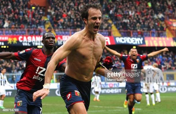 Alberto Gilardino of Genoa CFC celebrates after scoring his second goal during the Serie A match between Genoa CFC and Udinese Calcio at Stadio Luigi...