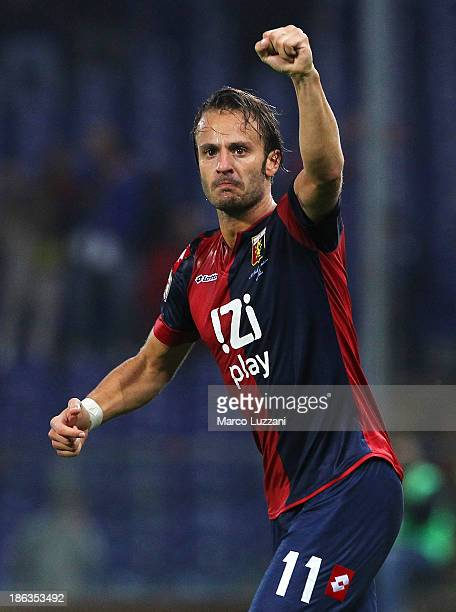 Alberto Gilardino of Genoa CFC celebrates after scoring the opening goal during the Serie A match between Genoa CFC and Parma FC at Stadio Luigi...
