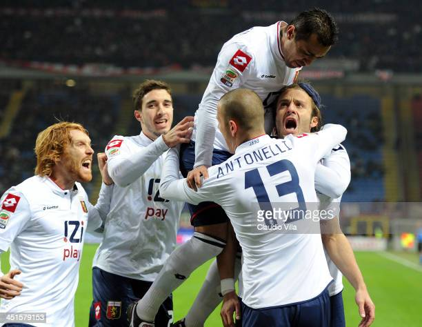 Alberto Gilardino of Genoa CFC celebrates scoring the first goal during the Serie A match between AC Milan and Genoa CFC at Stadio Giuseppe Meazza on...