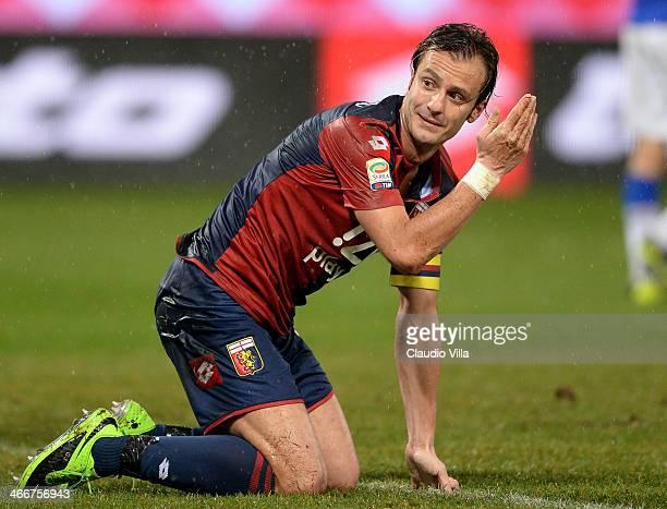 Alberto Gilardino of Genoa CFC dejected during the Serie A match between Genoa CFC and UC Sampdoria at Stadio Luigi Ferraris on February 3, 2014 in...
