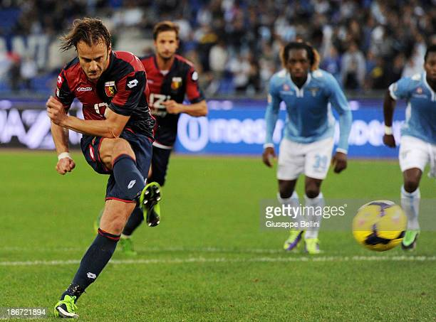 Alberto Gilardino of Genoa scores their second goal from the penalty spot during the Serie A match between SS Lazio and Genoa CFC at Stadio Olimpico...