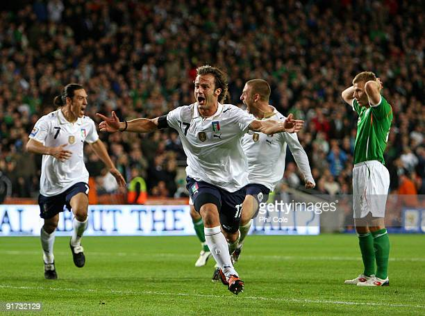 Alberto Gilardino of Italy celabrates scoring during the FIFA 2010 World Cup European Qualifying match between the Republic of Ireland and Italy at...