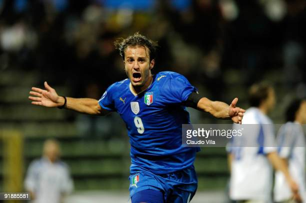 Alberto Gilardino of Italy celebrates after scoring his team's second goal during the FIFA 2010 World Cup Group 8 Qualifying match between Italy and...