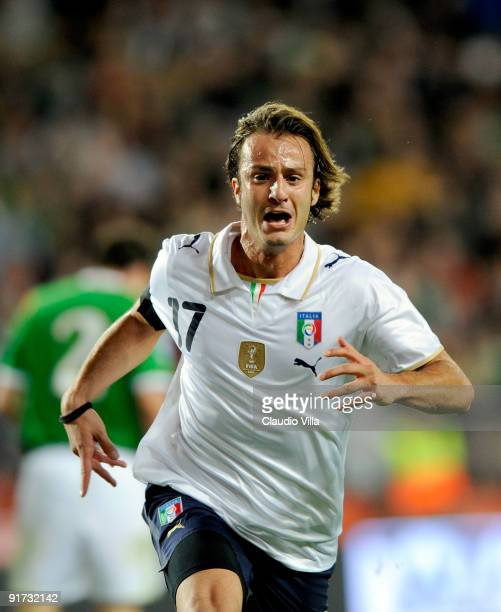 Alberto Gilardino of Italy celebrates during the FIFA 2010 World Cup Group 4 Qualifying match between Republic of Ireland and Italy at Croke Park...