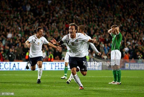 Alberto Gilardino of Italy celebrates scoring during the FIFA 2010 World Cup European Qualifying match between the Republic of Ireland and Italy at...