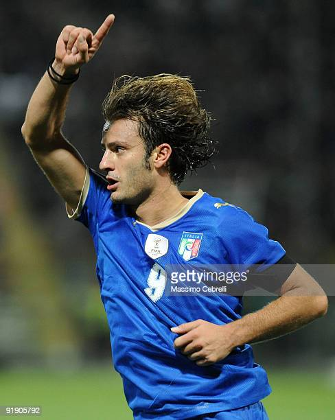Alberto Gilardino of Italy celebrates scoring his first goal during the FIFA 2010 World Cup European Qualifying match between Italy and Cyprus at...