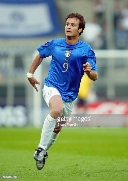 Alberto Gilardino of Italy during The UEFA Under 21's European Championships match between Italy and Belarus at The Ruhr Stadium on May 27 2004 in...