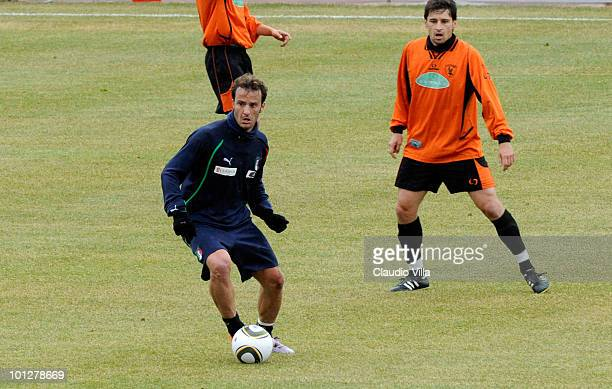 Alberto Gilardino of Italy in aciton during the friendly match between Italy and Russi on May 30 2010 in Sestriere near Turin Italy