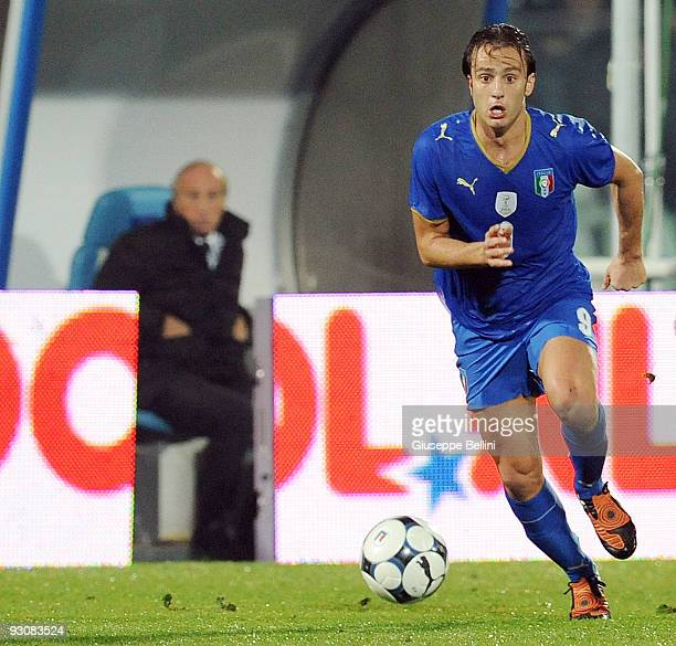 Alberto Gilardino of Italy in action during the International Friendly Match between Italy and Holland at Adriatico Stadium on November 14, 2009 in...