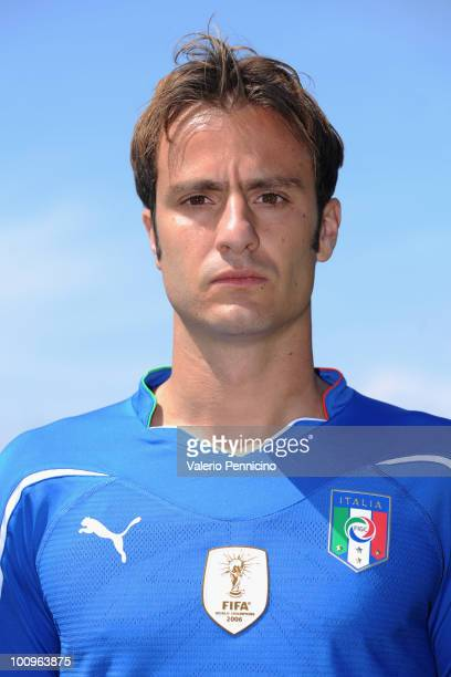 Alberto Gilardino of Italy national team poses for a photo during the official Fifa World Cup 2010 portrait session on May 26, 2010 in Sestriere near...