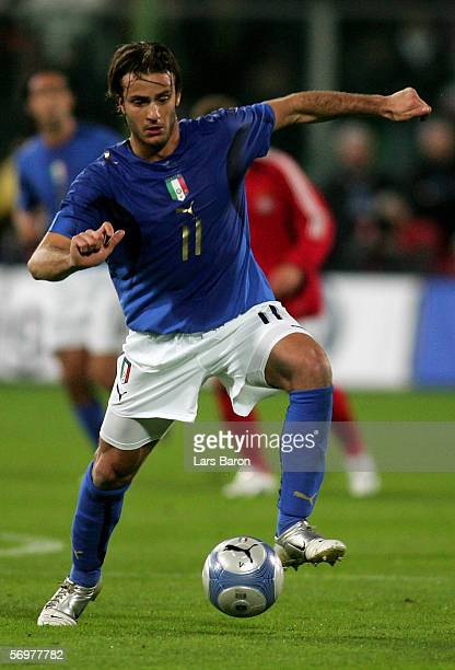 Alberto Gilardino of Italy runs with the ball during the international friendly match between Italy and Germany at the Artemio Franchi Stadium on...