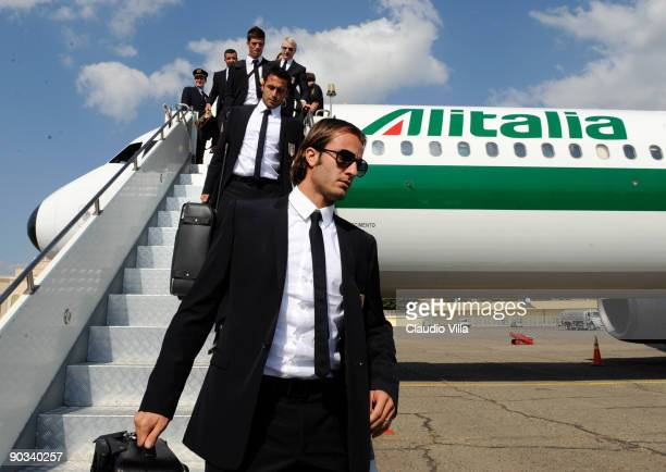 Alberto Gilardino of Italy walks down the steps from Alitalia after arriving at Tbilisi on September 4 2009 in Tbilisi Georgia