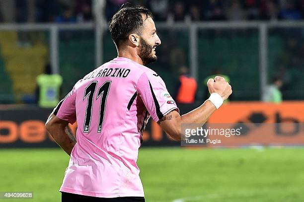 Alberto Gilardino of Palermo celebrates after scoring the equalizing goal during the Serie a match between US Citta di Palermo and FC Internazionale...