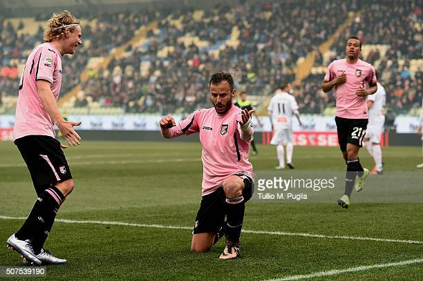 Alberto Gilardino of Palermo celebrates after scoring the opening goal during the Serie A match between Carpi FC and US Citta di Palermo at Alberto...