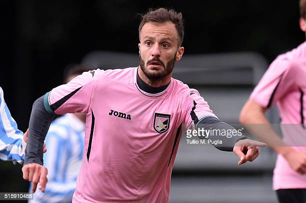 Alberto Gilardino of Palermo in action during a test match between US Citta' di Palermo and Parmonval at Tenente Carmelo Onorato training center on...