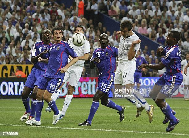 Alberto Gilardino scores for Italy during the Group B Euro 2008 qualifying match between France and Italy at the Stade de France on September 6 2006...