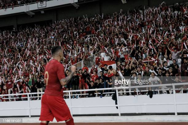 Alberto Goncalves of Indonesian's celebrates after scoring the second goal during FIFA World Cup 2022 qualifying match between Indonesia and Malaysia...