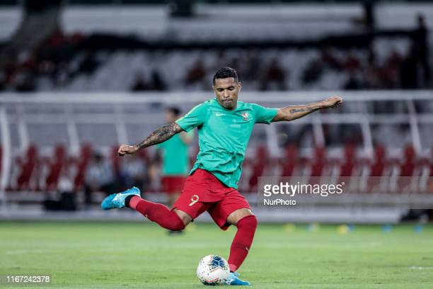 Alberto Goncalves of Indonesian's in action before match during FIFA World Cup 2022 qualifying match between Indonesia and Thailand at the Gelora...