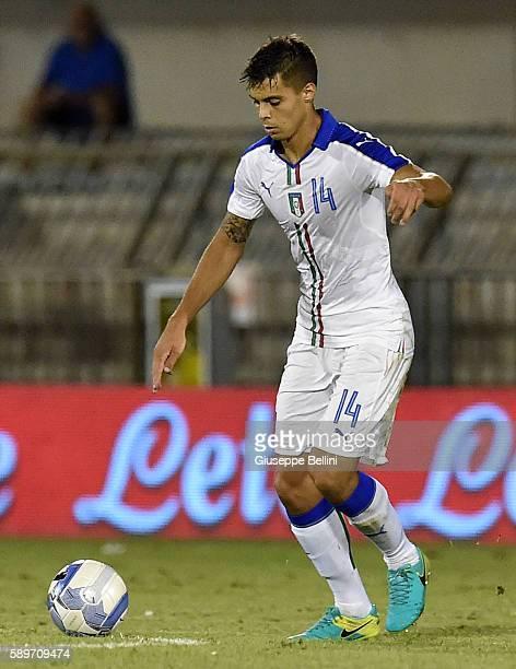 Alberto Grassi of Italy U21 in action during the international friendly match between Italy U21 and Albania U21 at Stadio Riviera delle Palme on...
