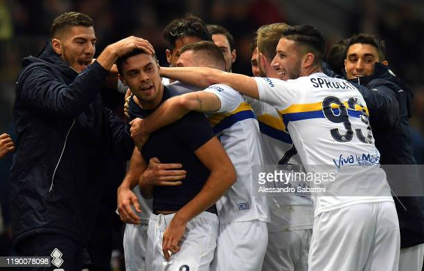 Alberto Grassi of Parma Calcio celebrates after scoring the 11 goal during the Serie A match between Parma Calcio and Brescia Calcio at Stadio Ennio...