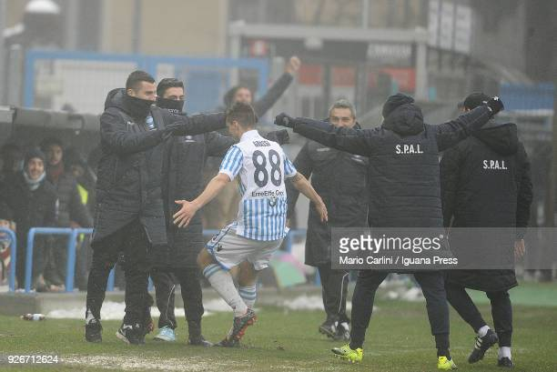 Alberto Grassi of Spal celebrates after scoring the opening goal during the serie A match between Spal and Bologna FC at Stadio Paolo Mazza on March...
