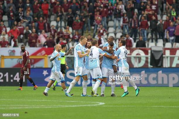 Alberto Grassi of SPAL celebrates after scoring with teammates during the Serie A football match between Torino FC and SPAL at Olympic Grande Torino...