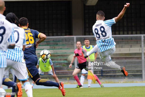 Alberto Grassi of Spal during the serie A match between Hellas Verona FC and Spal at Stadio Marc'Antonio Bentegodi on April 29 2018 in Verona Italy