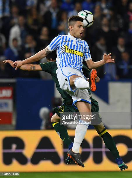 Alberto Grassi of Spal jump for the ball during the serie A match between Spal and AC Chievo Verona at Stadio Paolo Mazza on April 18 2018 in Ferrara...