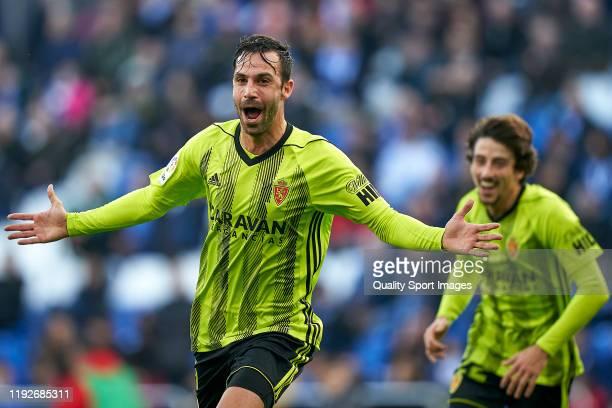 Alberto Guitian of Real Zaragoza celebrates after scoring his team's first goal during the La Liga Smartbank match between Deportivo de La Coruna and...