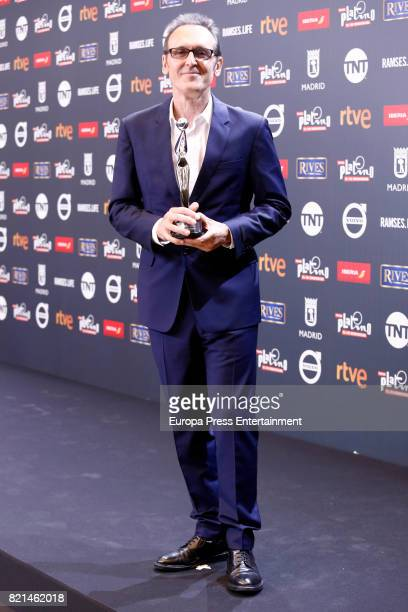 Alberto Iglesias is seen at Platino Awards winners press room at La Caja Magica on July 22 2017 in Madrid Spain