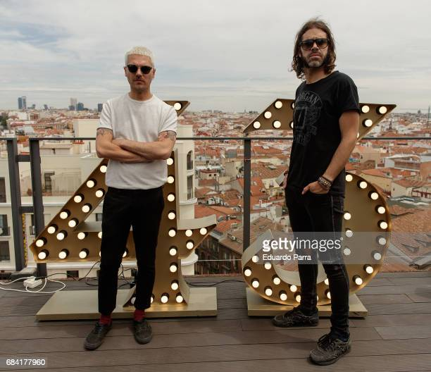 Alberto Jimenez and Alvaro Navarro of spanish band Miss Caffeina attend the '43 Live the roof' press conference at Emperador hotel on May 17 2017 in...