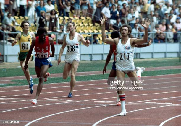Alberto Juantorena of Cuba wins the men's 400 metres final during the Summer Olympic Games in Montrealon 26th July 1976 Other finishers from left to...