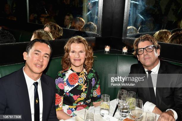 Alberto Latorre Sandra Bernhard and Carlos Betancourt attend The Andy Warhol Museum's Annual NYC Dinner at Indochine on November 12 2018 in New York...