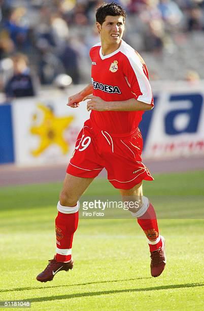 Alberto Luque of Deportivo La Coruna in action during the Spanish Primera Liga match between Espanyol and Deportivo La Coruna held at the Estadio...