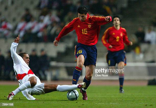 Alberto Luque of Spain in action during the International Friendly match between Spain and Peru at The Olympic Stadium on February 18 2004 in...