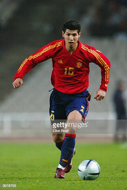 Alberto Luque of Spain makes a break forward during the International Friendly match between Spain and Peru held on February 18 2004 at The Olympic...
