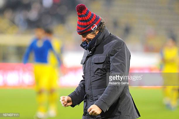 Alberto Malesani coach of Bologna FC celebrates after his team's win during the Serie A match between Bologna and Chievo at Stadio Renato Dall'Ara on...