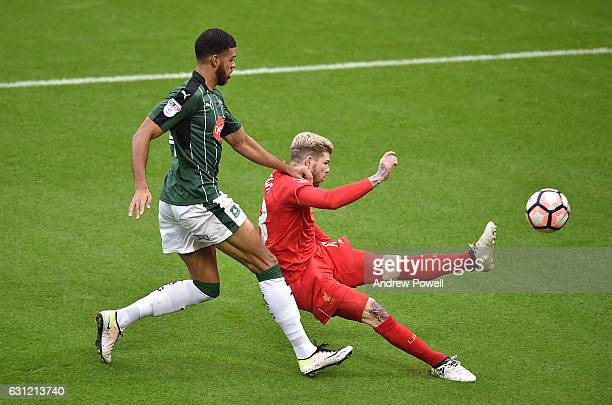 THE SUN OUT THE SUN ON SUNDAY OUT Alberto Mareno of Liverpool during the Emirates FA Cup Third Round match between Liverpool and Plymouth Argyle at...