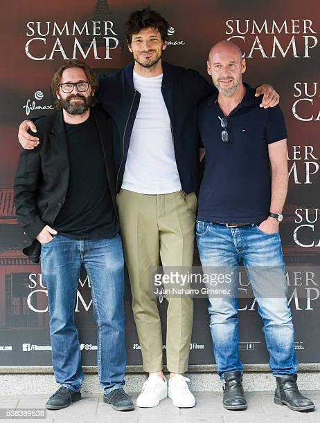 Alberto Marini Andres Velencoso and Jaume Balaguero attend 'Summer Camp' photocall at Paz Cinema on June 6 2016 in Madrid Spain