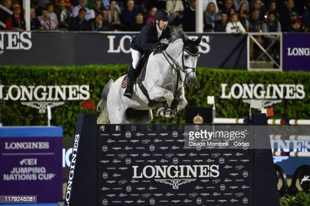 Alberto Marquez Galobardes riding Ucello Massuere of Spain during Longines FEI Jumping Nations Cup Final u2013 Challenge Cup on October 5 2019 in...