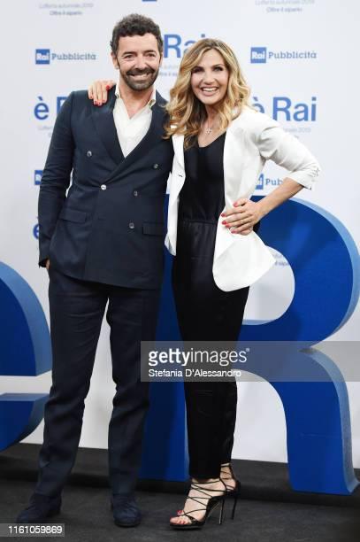 Alberto Matano and Lorella Cuccarini attend the Rai Show Schedule presentation on July 09 2019 in Milan Italy