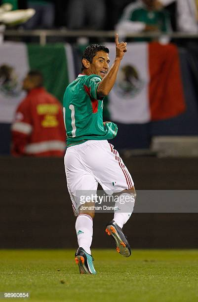 Alberto Medina of Mexico celebrates his gamewinning goal against Senegal during an international friendly at Soldier Field on May 10 2010 in Chicago...